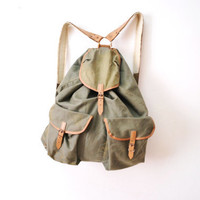 Vintage military army backpack leather linen olive green