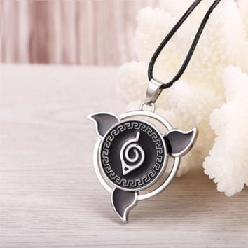 Naruto Hidden Leaf style Sharingan Necklace with Rotatable pendant
