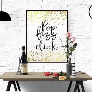 "Bar Art Print ""Pop Fizz Clink Art Print"" Home Wall Decor Champagne Wall Art Poster Yellow Black Champagne Quote Time do Drink Champagne Art"