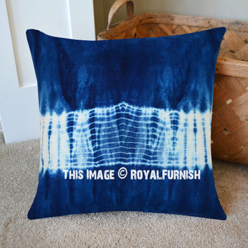 Blue And White Strips Shibori Indigo Pillow Cover 16X16 Inch on RoyalFurnish.com