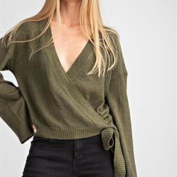 Ribbed Wrap Knit Sweater - Olive