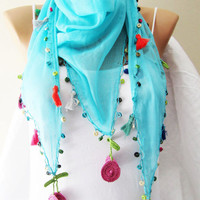 Blue Scarf,  Lace Scarf with Red, Green Pink Tassel, Bridesmaids Gift Accessories