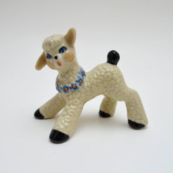 Vintage Lamb Figurine, Ceramic Easter Lamb with Blue Flower Necklace, Easter Decoration, circa 1950s
