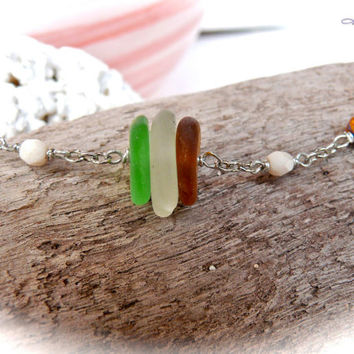 Sea Glass Anklet made in Hawaii, Hawaiian Jewelry, beach glass ankle bracelet by Mermaid Tears, ocean inspired jewelry 060