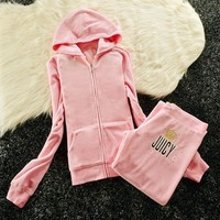 Juicy Couture Sequin Crown Logo Velour Tracksuit 6008 2pcs Women Suits Pink
