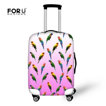 FORUDESIGNS Protect Luggage Cover Parrot Pink High Stretch Polyester Suitcase Cover Anti-scratch Extremely Durable for Size SML