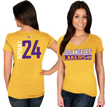 Women's Los Angeles Lakers Kobe Bryant Majestic Gold Name & Number V-Neck T-Shirt