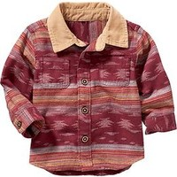 Patterned Cord-Collar Shirt for Baby
