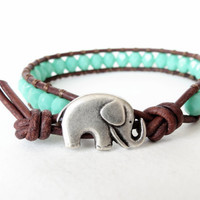 Hipster elephant bracelet in opaque turquoise on soft brown distressed leather, hipster bracelet for stacking & layering, boho style