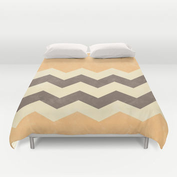Peach, Grey and Cream Chevron Duvet Cover by Kat Mun | Society6
