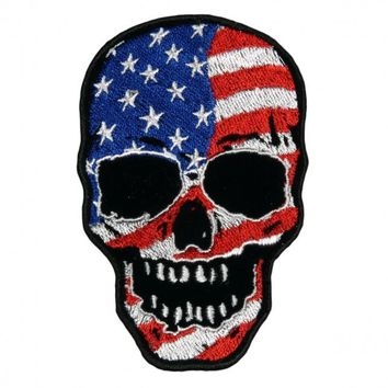 "American Flag Skull, High Quality Sew-on, Heat Sealed Backing Rayon Velcro PATCH - 3"" X 4"""