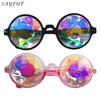 SAYFUT Festivals Kaleidoscope Cool Glasses For raves - Goggles Rainbow Prism diffraction Crystal Lenses Steampunk Gothic Cosplay