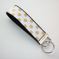 Key FOB / KeyChain / Wristlet  - Gold metallic dots white on black - gift for her coworker