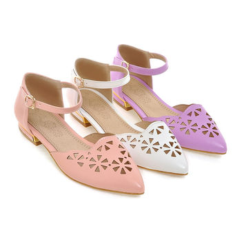 Summer Pointed Toe Flats Sandals Ankle Straps Shoes Woman