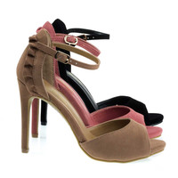 Truelove58 Ruffle Topped Sandal w High Heel & Closed Heel & Ankle Strap