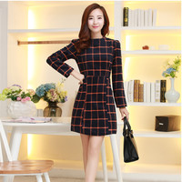 Slim Thin Woolen Plaid Dress