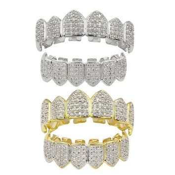 ac DCCKO2Q 2 Pair Halloween Crystal 3A Zircon Top Bottom Fang Mouth Teeth Grills Caps