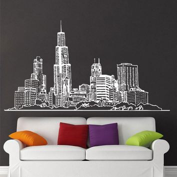 Wall Decal Sticker Chicago American City Vinyl Home Decor Living Room Children's Bedroom Removable Mural E594
