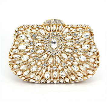 Dazzling GOLD Crystal Women Peacock Clutches Handbag Metal Evening Bags Minaudiere Ladies Party Purse Wedding Clutch Bridal Bags