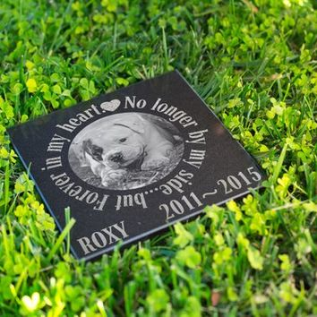 Personalized Memorial Pet Stone Granite - Engraved Headstone with YOUR Pets Photo Burial Cemetery Stone, Grave Marker for Best Companion #11