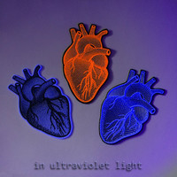 """Heart Anatomic Embroidery patch - White, Black or Fluorescent Red .  The approximate size 8.5 x 14cm (3.35 x 5.51"""")"""