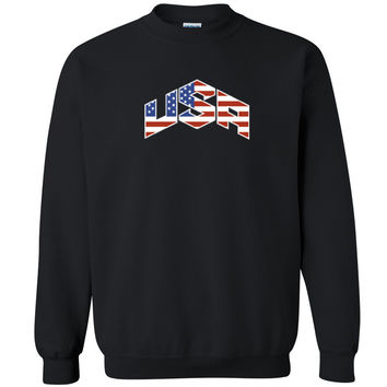 Zexpa Apparel™ USA Triangle Pattern Unisex Crewneck USA olympics team flag Sweatshirt