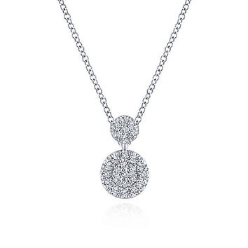 14K White Gold Stacked Double Circle Pave Diamond Cluster Necklace