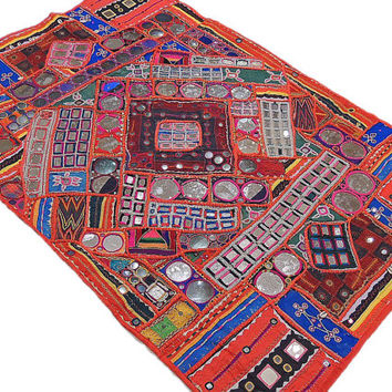 Wall Accents - Large Indian Tapestry Exquisite Home Decoration Unique Mirror Work Rare Textile - NH15314