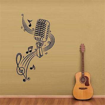Microphone Vinyl Wall Decal.
