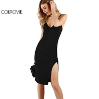COLROVIE Night Club Pencil Party Dress Black Sexy Slit Front Slim Bodycon Summer Dresses 2017 Women V Neck Slip Midi Basic Dress