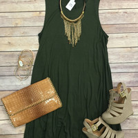 Back at It Tunic Dress: Olive