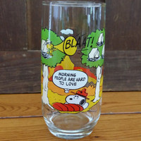 Vintage Camp Snoopy Peanuts Collectible Glass Charlie Brown Woodstock
