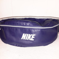 Vintage Nike Leather BLue and Grey Fanny Pack Waist Bag