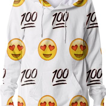 White/Emoji Hoodie created by trilogy-anonymous | Print All Over Me