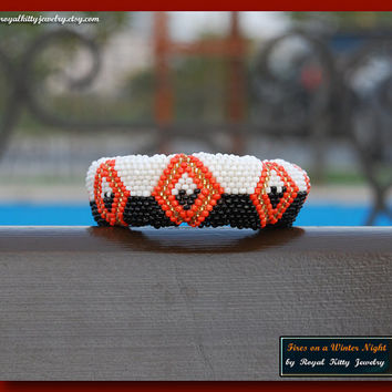 Reserved - Fires on a Winter Night, handmade bracelet, beadwork art, beaded bracelet, winter bracelet