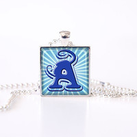 Glass tile pendant personalized necklace blue teal alphabet letter, rusteam, tagt