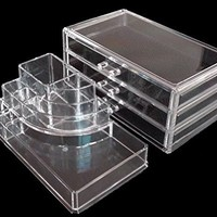 Vieworld Acrylic Cosmetic Organizer, 8 Compartments, 3 Drawers, Clear