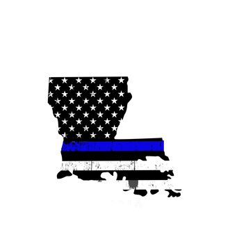 Louisiana Distressed Subdued US Flag Thin Blue Line/Thin Red Line/Thin Green Line Sticker. Support Police/Firefighters/Military