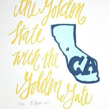 California Letterpress Art Print--State Series