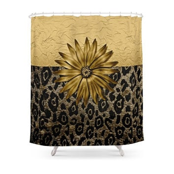 Society6 Animal Print Brown And Gold Animal Medallion Shower Curtains