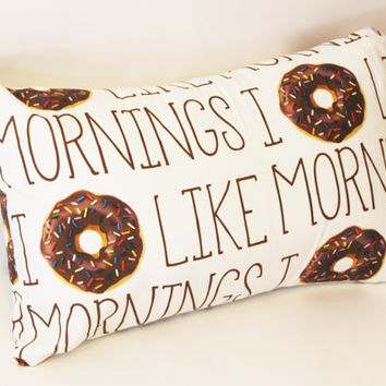 Ready to Ship - I Donut Like Mornings Decorative Lumbar Pillow Case Cover Size 12x16 Solid Pink Blue