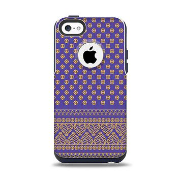 The Tall Purple & Orange Floral Vector Pattern Apple iPhone 5c Otterbox Commuter Case Skin Set