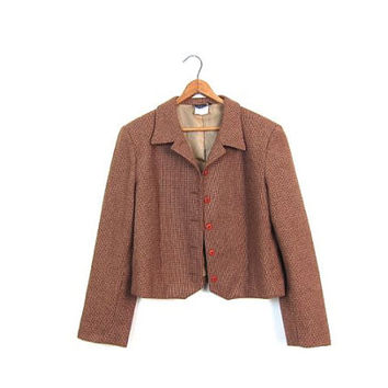 Vintage 70s Brown Wool Blazer Cropped Tweed Jacket Button Up Crop Blazer Jacket Preppy Fall Coat 1970s Modern Prep Jacket Womens Medium