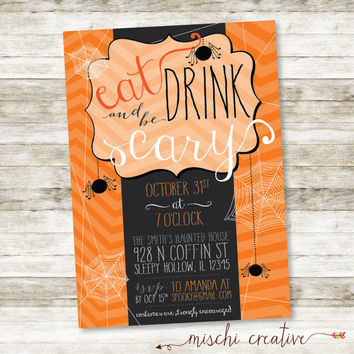 "Eat, Drink and Be Scary Halloween Party DIY Digital Printable Invitation, 5"" x 7"""