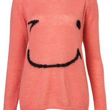 Knitted Smiley Face Jumper - Knitwear  - Apparel