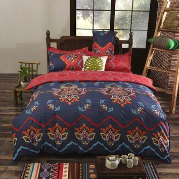 Cool Bohemian Style Bedding set Floral Printed Bed linens Twin Queen King Size 4pcs Duvet Cover Flat Sheet Pillow case Hot saleAT_93_12