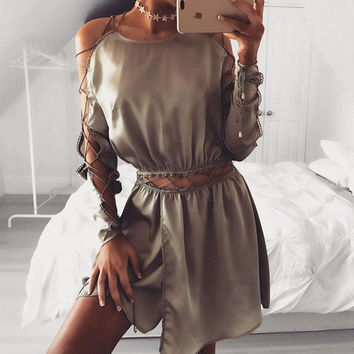 Sexy Hollow Out Dress Women Vestidos 2017 Spring Autumn O Neck Long Sleeve Lace Up Bandage Satin Mini Club Party Dresses