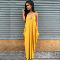 Fashion Summer Beach Dress women long dress Strapless Casual Loose Maxi Dress Sexy solid V-neck dress Plus Size PP943M