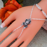 Monkey Love Hand Chain, Slave Bracelet, Hand Harness, Body Jewelry, Body Chain