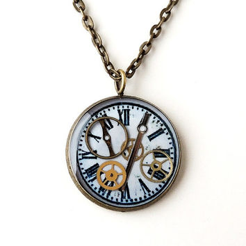 Steampunk Necklace, Tiny Watch Parts in a Handmade Vintage Style Pendant with Clock Face